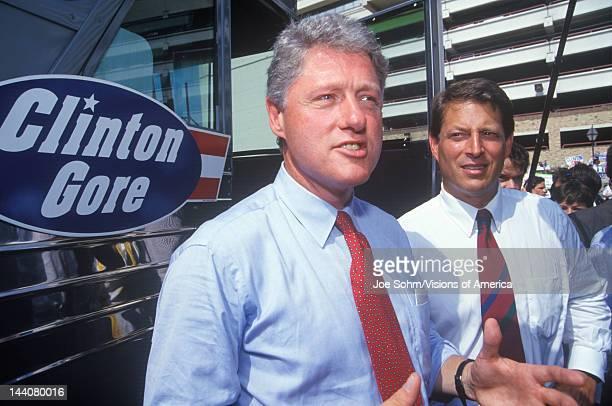 Governor Bill Clinton and Senator Al Gore on the 1992 Buscapade campaign tour in San Antonio Texas