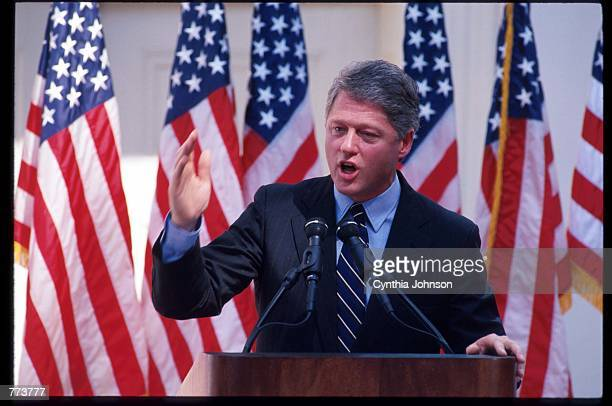 Governor Bill Clinton announces his candidacy October 3 1991 in Little Rock AR Clinton won the Democratic primary and went on to win the general...