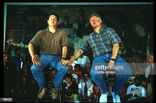Governor Bill Clinton sits with running mate Senator Al Gore during a bus tour July 21 1992 in USA Clinton defeated four other major Democratic...