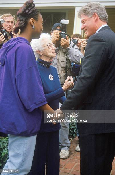 Governor Bill Clinton stops to meet with supporters on way to Governors Mansion on Election Day Nov 3 of 1992 in Little Rock Arkansas