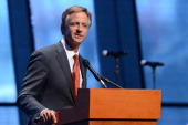 Governor Bill Haslam speaks during the grand opening celebration of the Country Music Hall of Fame and Museum on April 15 2014 in Nashville Tennessee