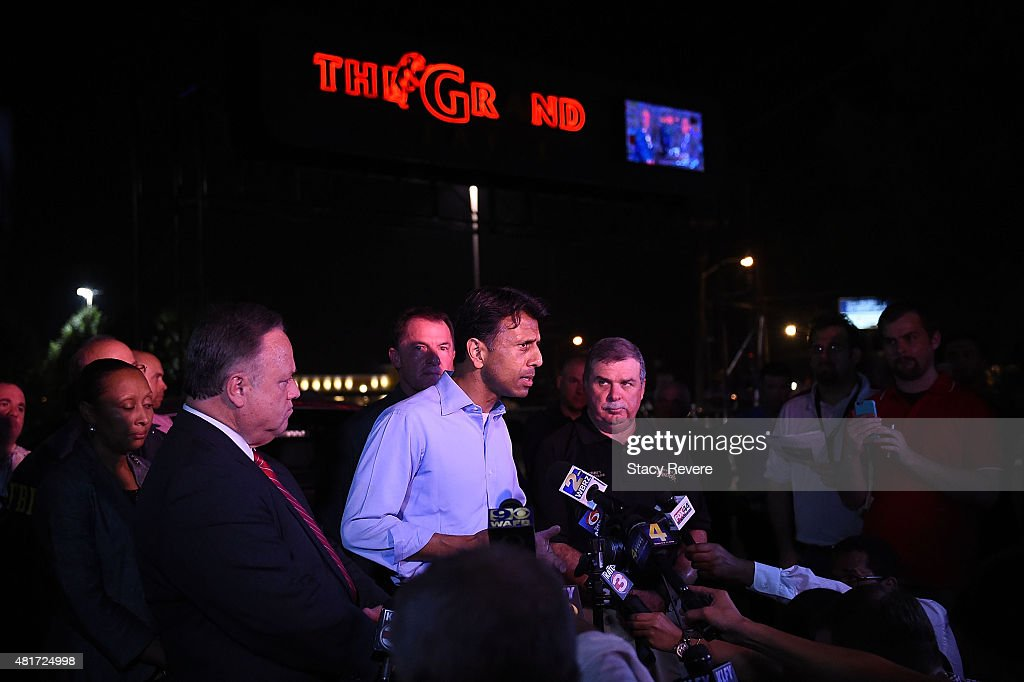 Governor Bobby Jindal speaks to the media in front of Johnston Street Java near the Grand Theatre on July 23 2015 in Lafayette Louisiana Three people...
