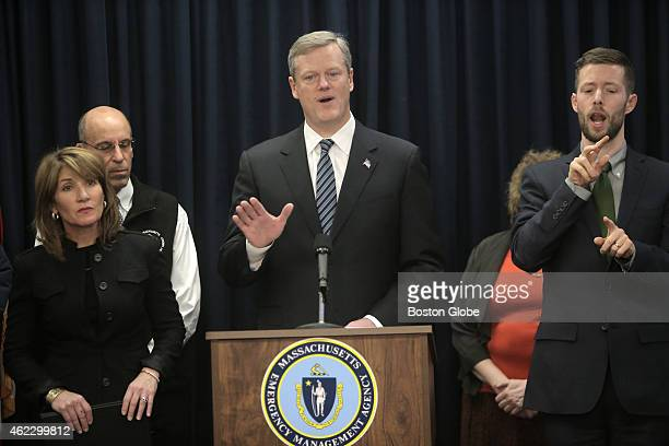 Governor Charlie Baker holds press conference concerning a major storm expected to hit the state at the Massachusetts Emergency Management Agency in...