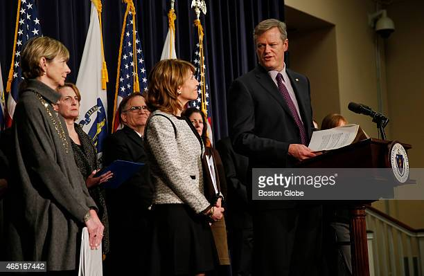 Governor Charlie Baker speaks at a press conference at the State House as he unveils initiatives to reduce homelessness in Boston Massachusetts March...