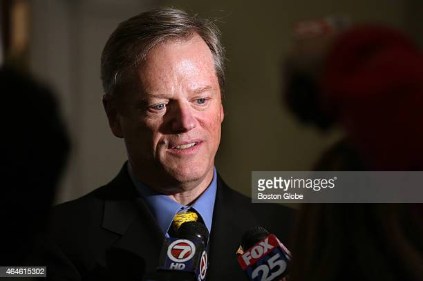 Governor Charlie Baker talks to the media about his meeting with Keolis executive Bernard Tabary at the State House on Thursday February 26 2015