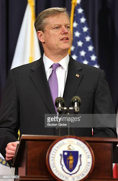 Governor Charlie Baker unveils his state budget proposal for fiscal year 2016 at a State House press conference on Wednesday March 4 2015