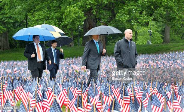 Governor Charlie Baker walks to a Remembering Honoring Our Massachusetts Heroes ceremony on the Boston Common on May 25 2017 The day before251...