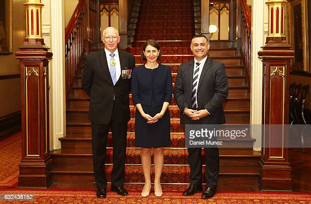 Governor David Hurley NSW Premier Gladys Berejiklian and NSW Deputy Premier John Barilaro pose for a picture with on January 23 2017 in Sydney...