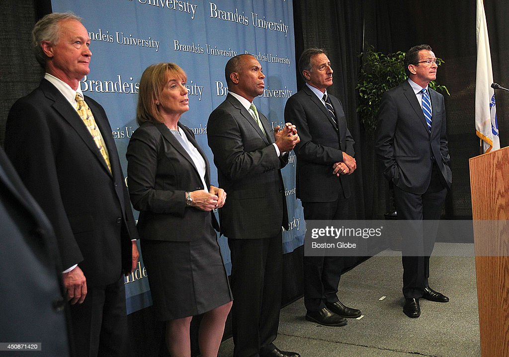 Governor Deval Patrick joined with four other New England governors at Brandeis University, for the announcement of a regional program to address opiod abuse. Left to right: Gov. Lincoln D. Chafee, Rhode Island; Gov. Maggie Hassan, New Hampshire; Gov. Deval Patick, Massachusetts; Gov. Peter Shumlin, Vermont; and Gov. Dannel Malloy, Connecticut.