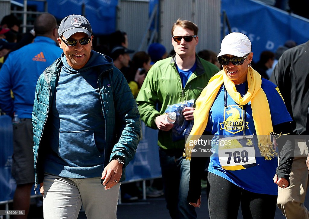 Governor Deval Patrick participates in the BAA Tribute Run on April 19 2014 in Boston Massachusetts