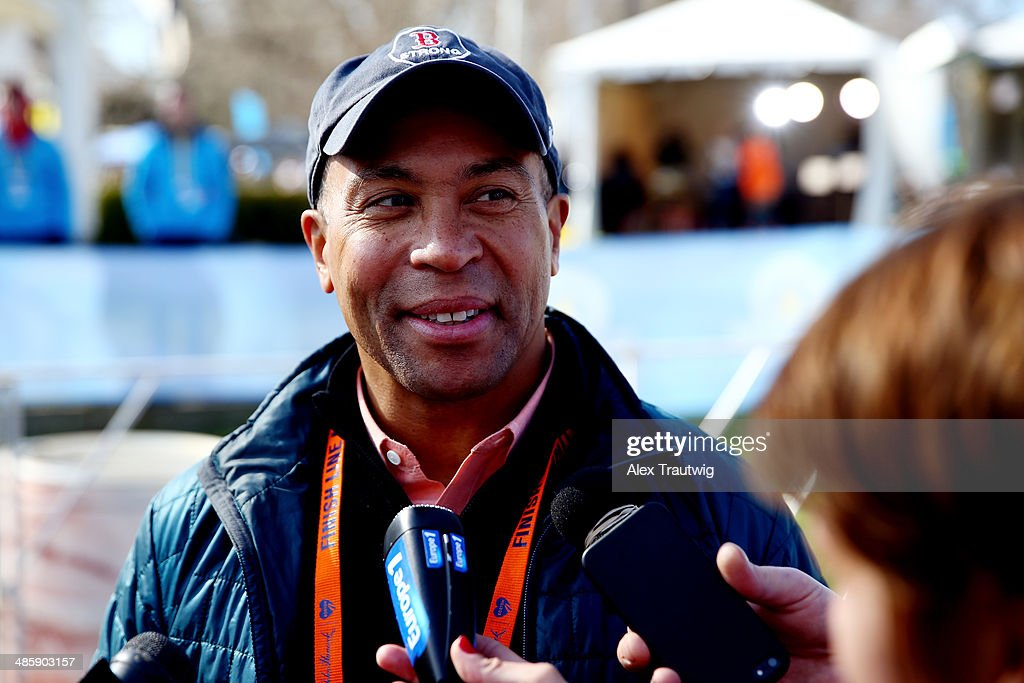Governor Deval Patrick speaks to the media after the start of the Mobility Impaired division of the 118th Boston Marathon on April 21 2014 in...