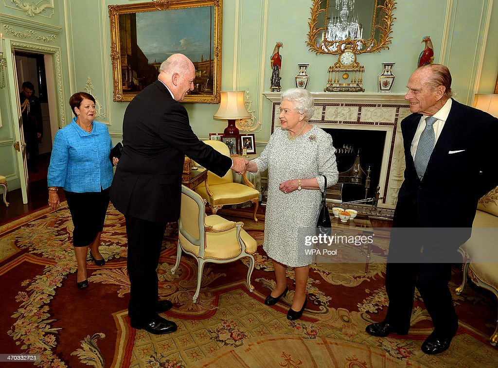 Governor General designate of Australia, General Peter Cosgrove (2nd L) and his wife Mrs Lynne Cosgrove (L) during a private audience with Queen <a gi-track='captionPersonalityLinkClicked' href=/galleries/search?phrase=Elizabeth+II&family=editorial&specificpeople=67226 ng-click='$event.stopPropagation()'>Elizabeth II</a> and <a gi-track='captionPersonalityLinkClicked' href=/galleries/search?phrase=Prince+Philip&family=editorial&specificpeople=92394 ng-click='$event.stopPropagation()'>Prince Philip</a>, Duke of Edinburgh at Buckingham Palace on February 19, 2014 in London, England.