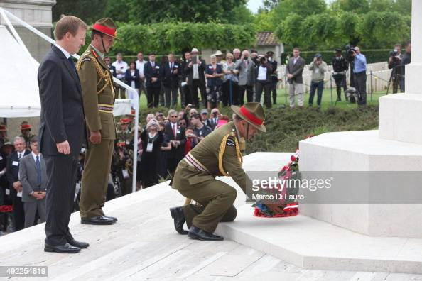 Governor General of New Zealand Jerry Mateparae lays a wreath in front of the cross at the Commonwealth War Graves Commission Cassino War Cemetery...