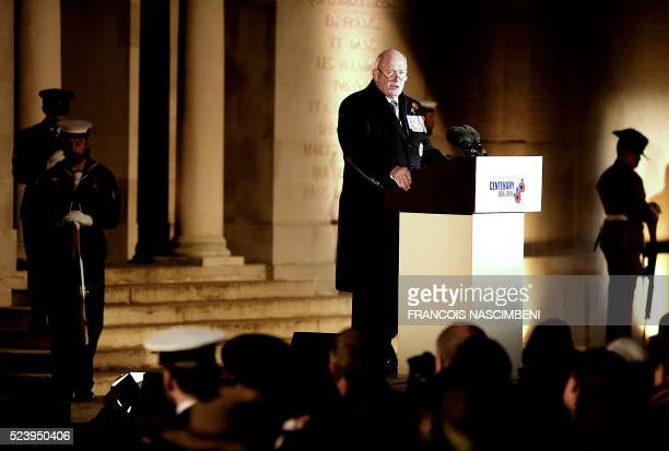 Governor General of the Commonwealth of Australia Peter Cosgrove delivers a speech during the Anzac day in tribute of Australians and New Zealanders...