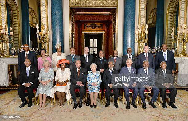 Governor Generals during a family photograph Sir Tapley Seaton Saint Kitts and Nevis Dame Marguerite Pindling The Bahamas Dame Cecile La Grenade...