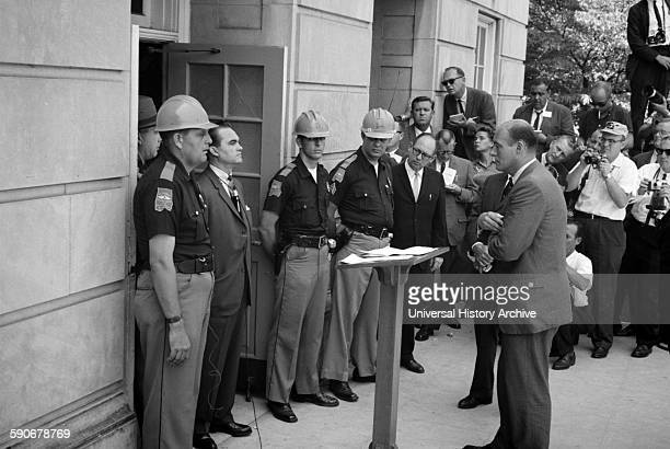 Governor George Wallace attempting to block racial integration at the University of Alabama 1963