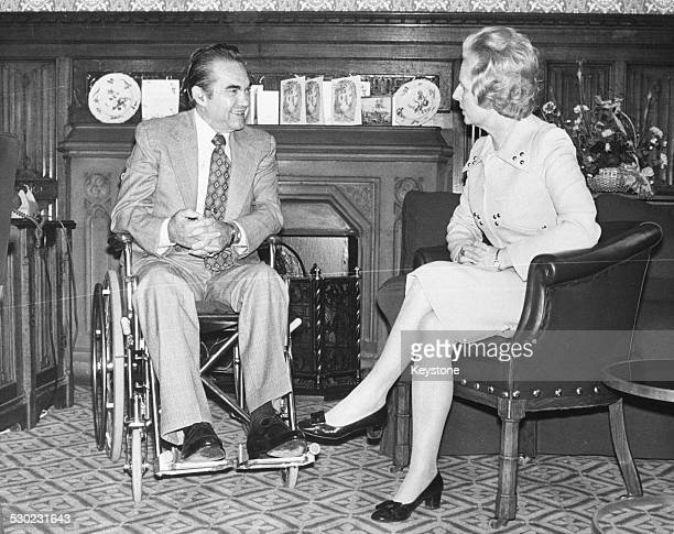 Governor George Wallace of Alabama speaking to British Prime Minister Margaret Thatcher October 14th 1975