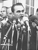 Governor George Wallace of Alabama speaking to the press after meeting with President Johnson at the White House Washington D C March 15th 1965