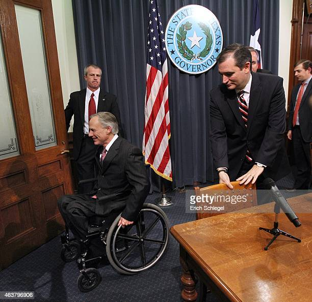Governor Greg Abbott left and US Sen Ted Cruz leave a joint press conference February 18 2015 in Austin Texas The press conference addressed the...
