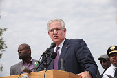 Governor Jay Nixon of Missouri speaks to the media on August 15 2014 in St Louis Missouri Violent protests have erupted in the city following the...