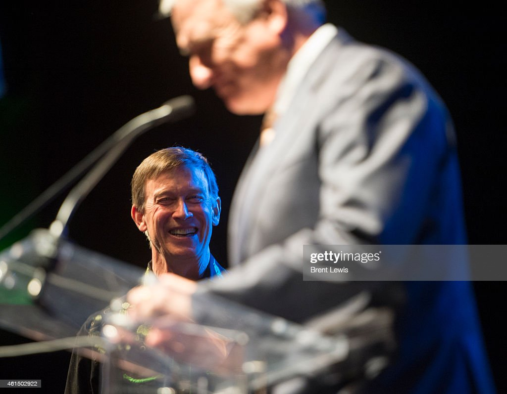 Governor <a gi-track='captionPersonalityLinkClicked' href=/galleries/search?phrase=John+Hickenlooper&family=editorial&specificpeople=4104050 ng-click='$event.stopPropagation()'>John Hickenlooper</a> laughs after former governor Bill Ritter gives his advice Tuesday, January 13, 2015 at the Fillmore Auditorium in Denver, Colorado. Governor <a gi-track='captionPersonalityLinkClicked' href=/galleries/search?phrase=John+Hickenlooper&family=editorial&specificpeople=4104050 ng-click='$event.stopPropagation()'>John Hickenlooper</a> celebrated with supporters and donors during his Inauguration Dinner and Dance which was one of the last stops of his Inauguration Day events.