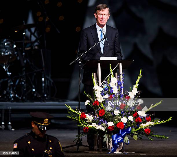 Governor John Hickenlooper speaks during the funeral service for Garrett Swasey the 44yearold University of Colorado at Colorado Springs police...