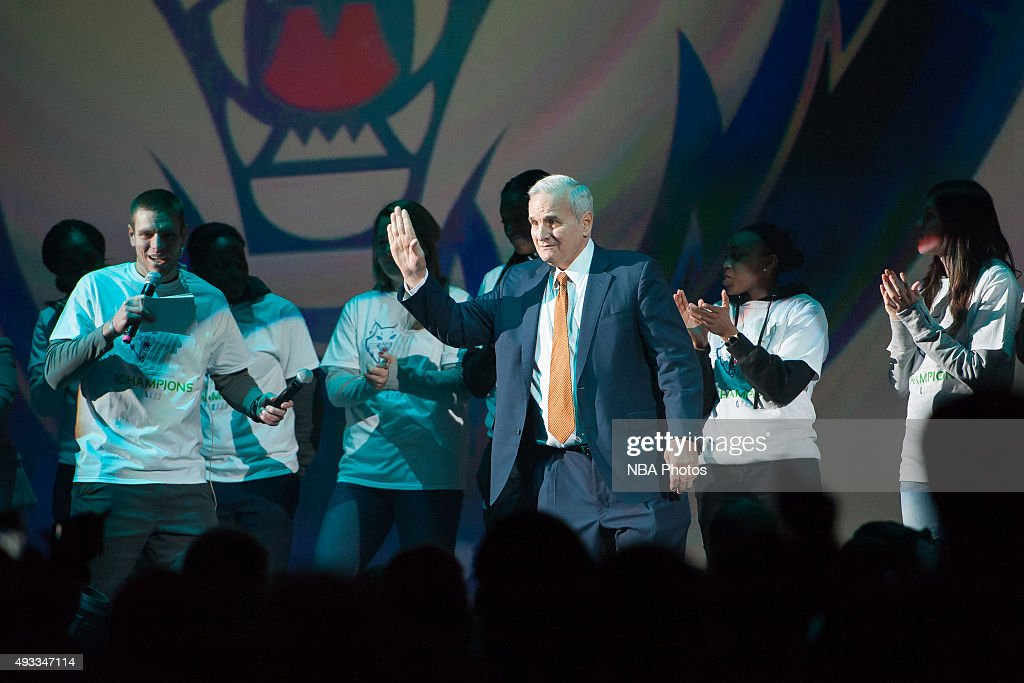 Governor <a gi-track='captionPersonalityLinkClicked' href=/galleries/search?phrase=Mark+Dayton&family=editorial&specificpeople=612750 ng-click='$event.stopPropagation()'>Mark Dayton</a> celebrates with the WNBA Champions Minnesota Lynx are honored with a Championship Rally at Target Center on October 16, 2015 in Minneapolis, Minnesota.