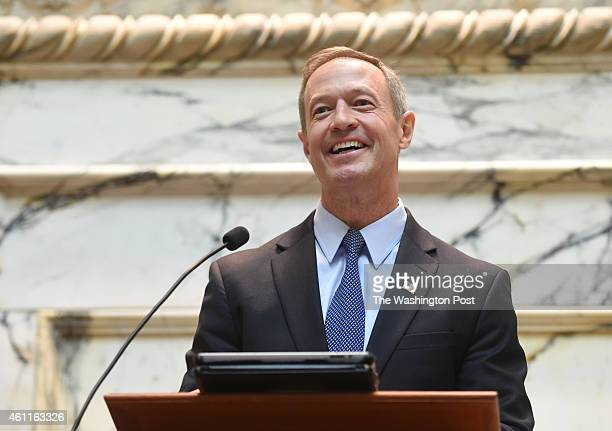 Governor Martin O'Malley remarks as he prepares to swear in Attorney General Brian Frosh as Maryland's 46th Attorney General on January 6 2015 in...