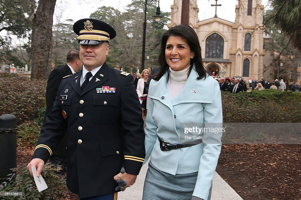 Governor <a gi-track='captionPersonalityLinkClicked' href=/galleries/search?phrase=Nikki+Haley+-+Governor&family=editorial&specificpeople=6974701 ng-click='$event.stopPropagation()'>Nikki Haley</a>, joined by her husband Michael, head to the State House to be sworn in after the Inaugural Prayer service held at Trinity Episcopal Cathedral Wednesday, Jan. 14, 2015 in Columbia, S.C.