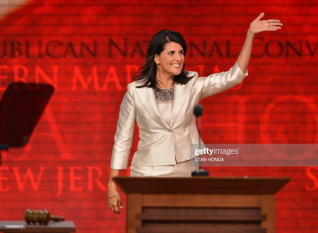 Governor <a gi-track='captionPersonalityLinkClicked' href=/galleries/search?phrase=Nikki+Haley+-+Governatore&family=editorial&specificpeople=6974701 ng-click='$event.stopPropagation()'>Nikki Haley</a> of South Carolina addresses the crowd at the Tampa Bay Times Forum in Tampa, Florida, on August 28, 2012 during the Republican National Convention. The 2012 Republican National Convention is expected to host 2,286 delegates and 2,125 alternate delegates from all 50 states, the District of Columbia and five territories. AFP PHOTO Stan HONDA