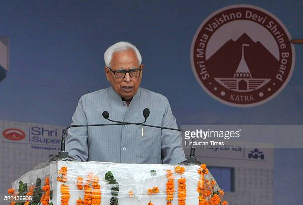 Governor NN Vohra addressing a public rally after inauguration of a sports complex and a superspecialty hospital set up by the Shri Mata Vaishno Devi...