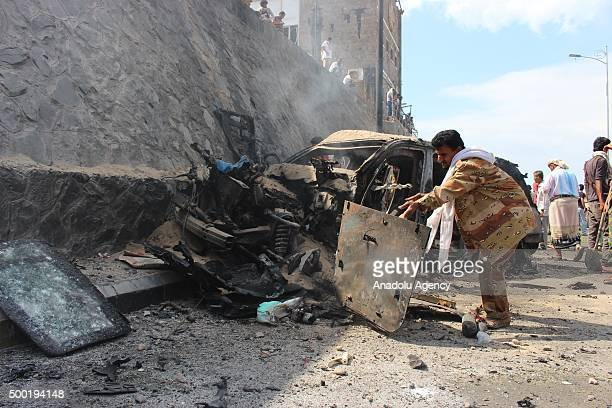 Governor of Aden Jaafar Mohammed Saad's car heavily damaged after the blast that killed governor of Aden and 8 people together with him in port city...