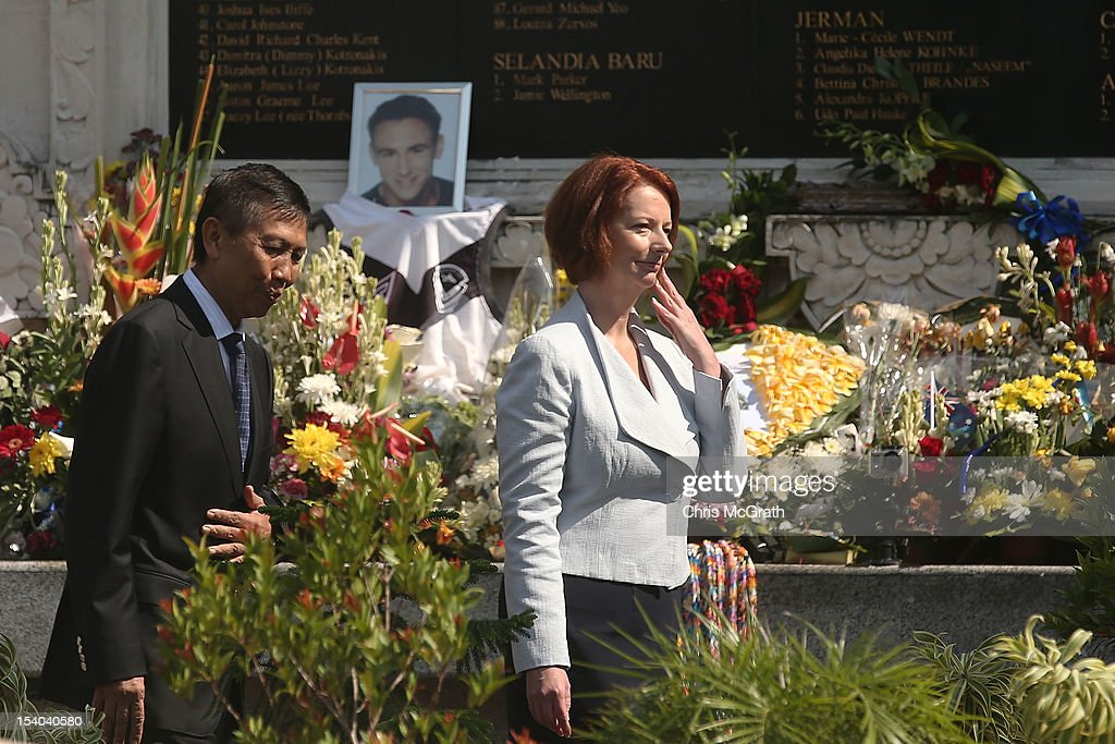Governor of Bali, I Made Mangku Pastika (L) and Australian Prime Minister Julia Gillard visit the Bali Bombing Memorial at Jalan Legian, Bali, on October 13, 2012 in Indonesia. The Prime Ministers visit brings to a close the official 10th anniversary ceremonies for the families of those killed in the 2002 Kuta bombings which killed 202 people including 88 Australians.
