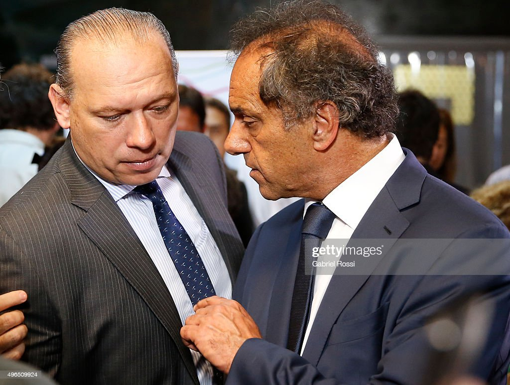 Governor of Buenos Aires and presidential candidate Daniel Scioli talks with Security Secretary of Argentina Sergio Berni during campaign rally at Federal Police School Juan Angel Pirker on November 10, 2015 in Buenos Aires, Argentina.