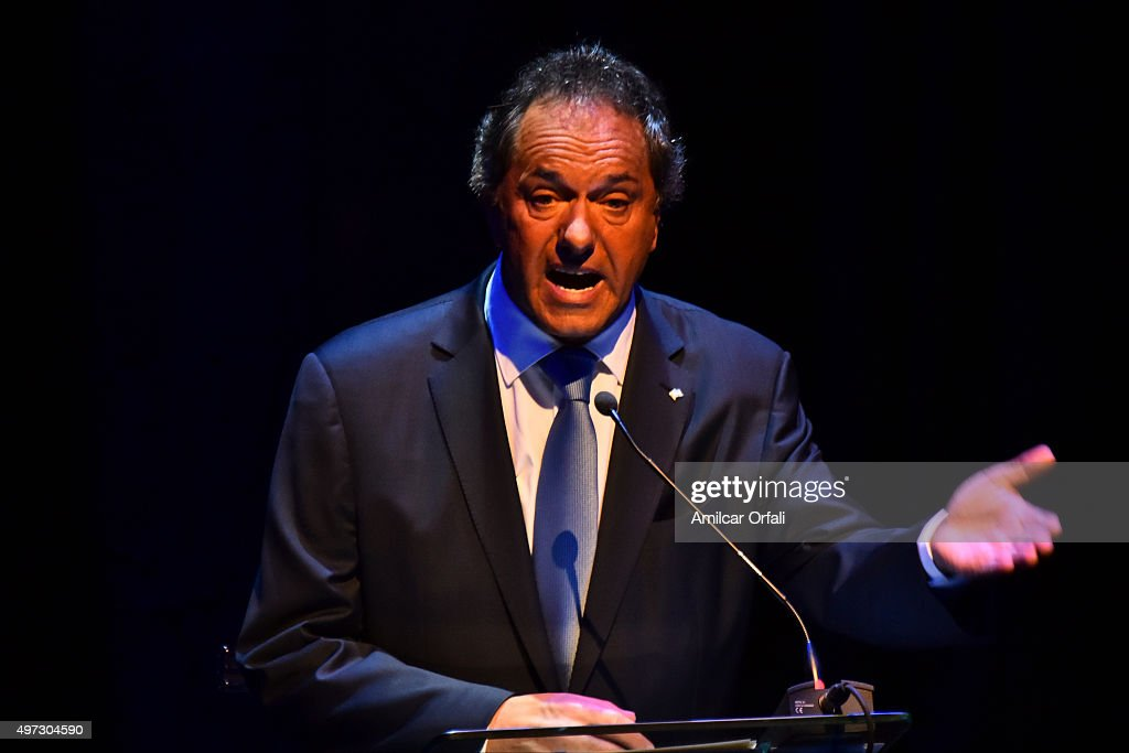 Governor of Buenos Aires and presidential candidate for Frente para la Victoria <a gi-track='captionPersonalityLinkClicked' href=/galleries/search?phrase=Daniel+Scioli&family=editorial&specificpeople=616127 ng-click='$event.stopPropagation()'>Daniel Scioli</a> speaks during the Presidential Debate 'Argentina Debate' at University of Buenos Aires (UBA) Law School on November 15, 2015 in Buenos Aires, Argentina. The NGO Argentina Debate organised the Argentina's presidential debate ahead of the November 22 runoff that will be held in Argentina.