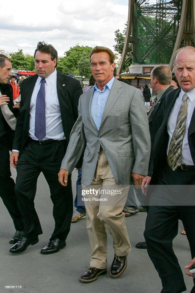 Governor of California Arnold Schwarzenegger arrives at the 'Jules Verne' restaurant at the Eiffel Tower on June 25 2007 in Paris France