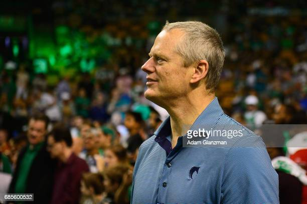 Governor of Massachusetts Charlie Baker looks on during Game Two of the 2017 NBA Eastern Conference Finals between the Cleveland Cavaliers and the...