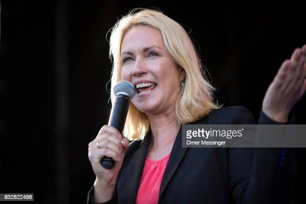 Governor of MecklenburgWestern Pomerania Manuela Schwesig is making a speech in support of Martin Schulz chancellor candidate of the German Social...