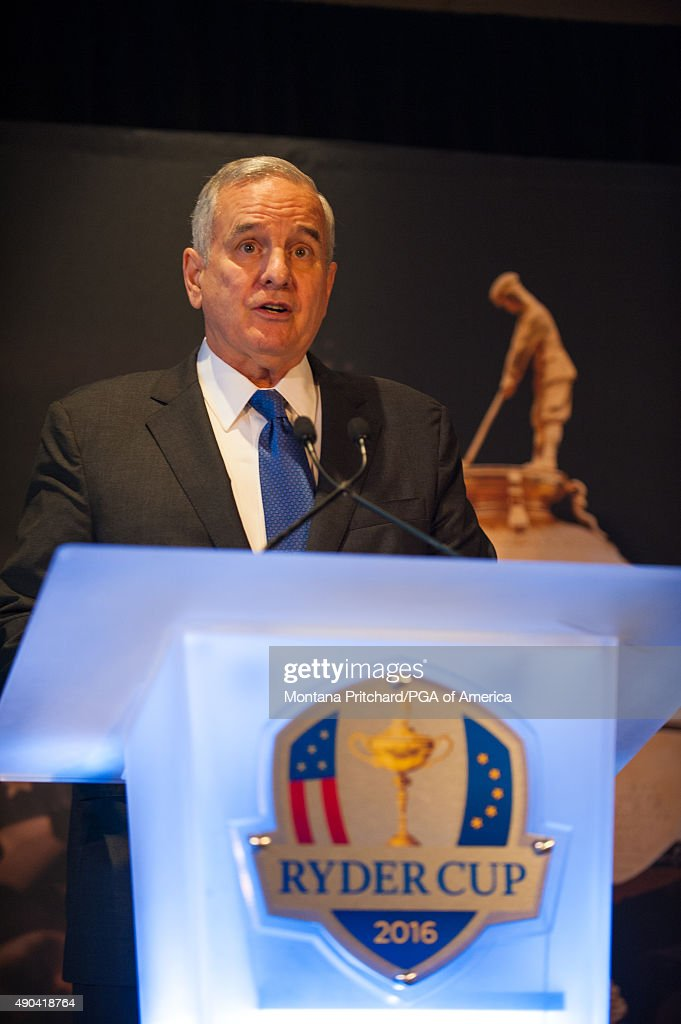Governor of Minnesota, <a gi-track='captionPersonalityLinkClicked' href=/galleries/search?phrase=Mark+Dayton&family=editorial&specificpeople=612750 ng-click='$event.stopPropagation()'>Mark Dayton</a> of the United States speaks at the Welcome To Minnesota Breakfast during the Ryder Cup Year To Go Celebration at the Galaxy Room on September 28, 2015 in Minneapolis, MN.