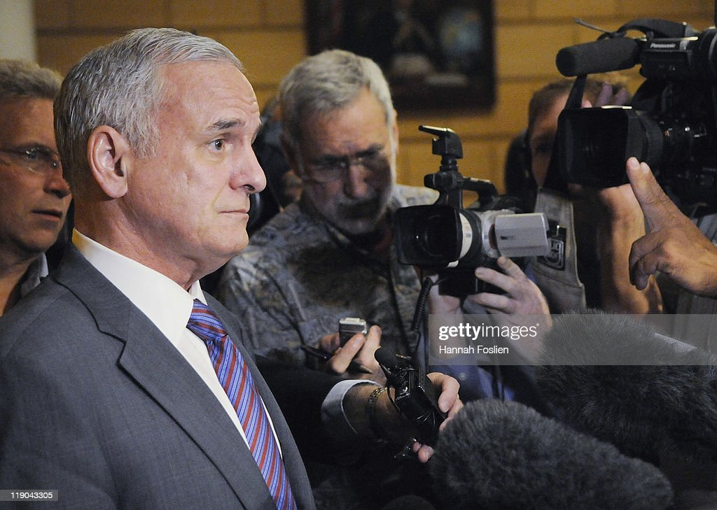 Governor of Minnesota <a gi-track='captionPersonalityLinkClicked' href=/galleries/search?phrase=Mark+Dayton&family=editorial&specificpeople=612750 ng-click='$event.stopPropagation()'>Mark Dayton</a> speaks to members of the media following presentation to Policy Fellows at the Humphrey School of Public Affairs on July 14, 2011 in Minneapolis, Minnesota. The state of Minnesota shut down state services after Republicans and Democrats failed to come to an agreement on the budget.