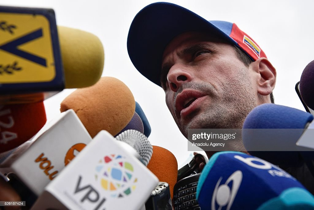 Governor of Miranda state Henrique Capriles address to the press outside the Ramo Verde Military Prision after the unsuccssesfull attempt to visit jailed opposition Leader Leopoldo Lopez on his 45th Birthday in Los Teques, Venezuela on April 29, 2016.
