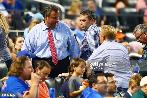 Governor of New Jersey Chris Christie attends the game between the New York Mets and the St Louis Cardinals at Citi Field on July 18 2017 in the...