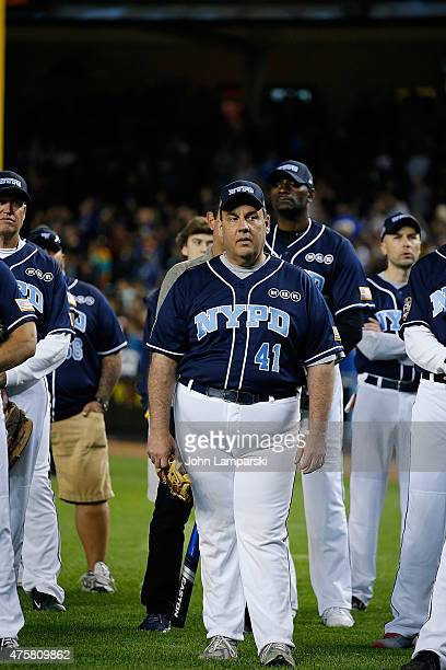 Governor of New Jersey Chris Christie participates in the the True Blue Celebrity Softball Game at the True Blue Celebrity Softball Game at Yankee...