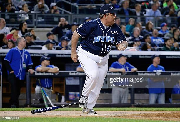 Governor of New Jersey Chris Christie participates in the True Blue Celebrity Softball Game at the True Blue Celebrity Softball Game at Yankee...