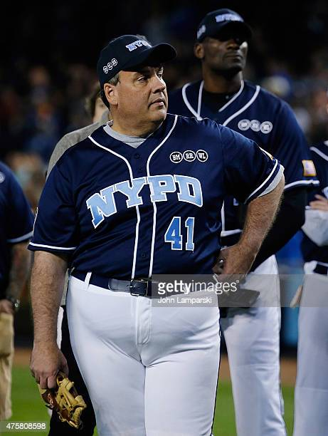 Governor of New Jersey Chris Christie participates in True Blue Celebrity Softball Game at Yankee Stadium on June 3 2015 in New York City