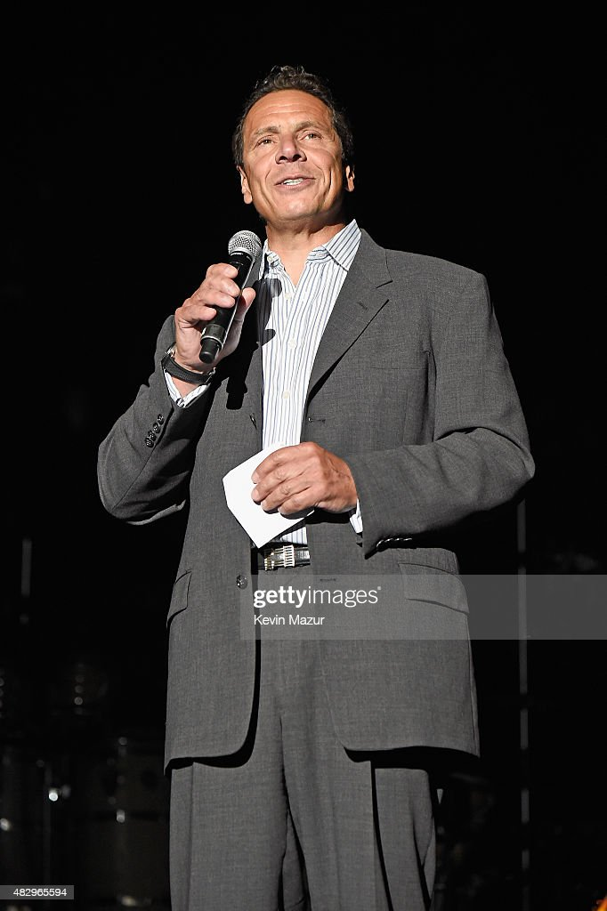 Governor of New York <a gi-track='captionPersonalityLinkClicked' href=/galleries/search?phrase=Andrew+Cuomo&family=editorial&specificpeople=228332 ng-click='$event.stopPropagation()'>Andrew Cuomo</a> speaks onstage before Billy Joel performs the final show at Nassau Coliseum on August 4, 2015 in Long Island, New York.