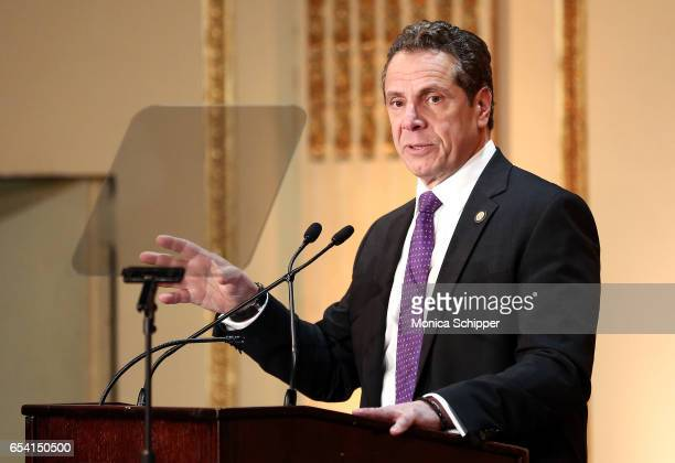 Governor of New York State Andrew Cuomo speaks on stage at the HELP USA 30th Anniversary Event at The Plaza Hotel on March 16 2017 in New York City