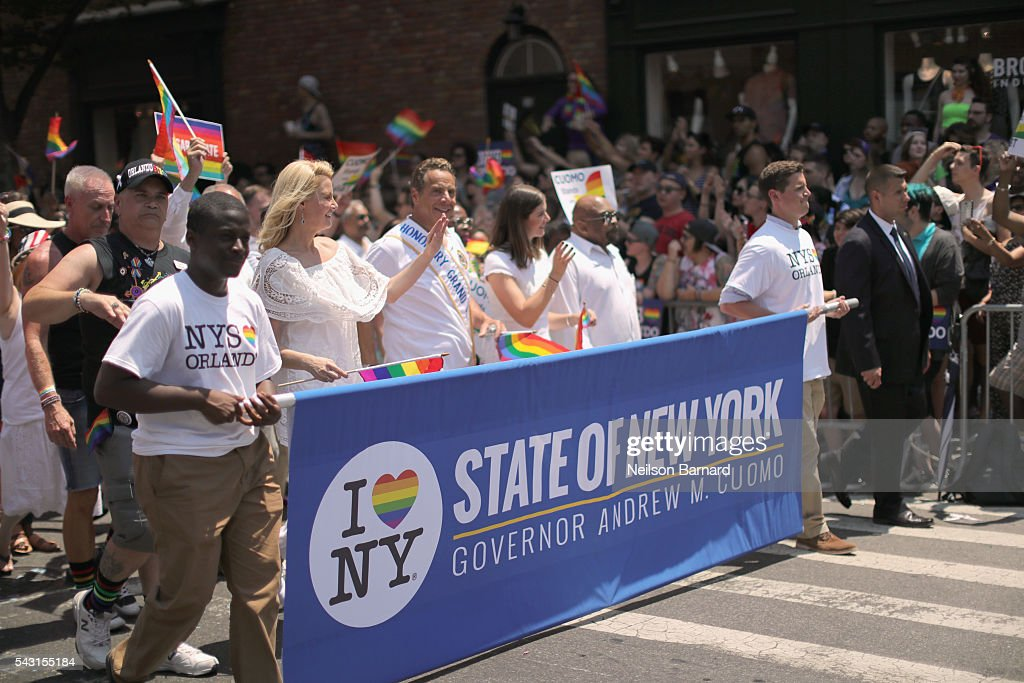Governor of New York State, Andrew M. Cuomo and Sandra Lee walks during the New York City Pride 2016 march on 5th Avenue on June 26, 2016 in New York City.
