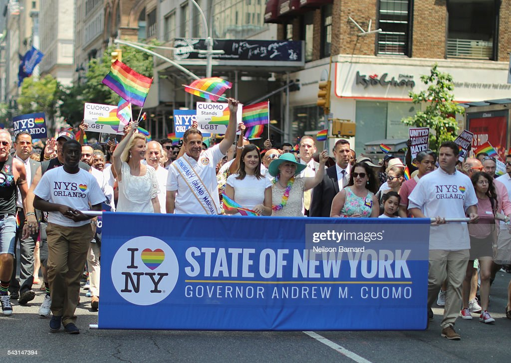 Governor of New York State, Andrew M. Cuomo walks during the New York City Pride 2016 march on 5th Avenue on June 26, 2016 in New York City.