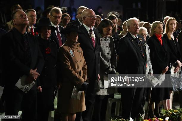Governor of NSW David Hurley and NSW Premier Gladys Berejiklian look on during the Sydney Dawn Service on April 25 2017 in Sydney Australia...